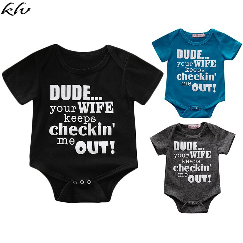 KLV 2019 Cute Letter Printing Cotton Newborn Infant Baby Boy Girls Romper Short Sleeve Jumpsuit Clothes in Clothing Sets from Mother Kids