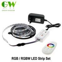5050 RGB LED Şerit 12 V 5 M 300 LEDs RGB/RGBW/RGBWW Neon Şerit + 2.4G Dokunmatik Uzaktan Kumanda + 12 V 3A Güç Kaynağı