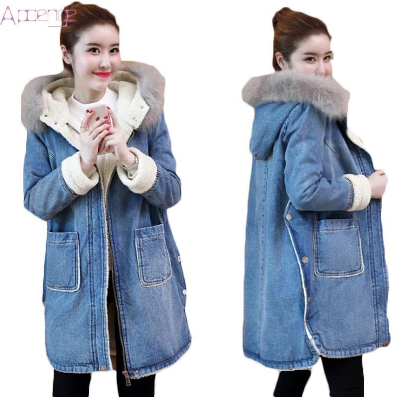 APOENGE 2017 Winter New Cotton Denim <font><b>Jacket</b></font> For Women Long Outwear Hooded Warm Coats Female Jeans Parkas Fur Collar <font><b>Jacket</b></font> LZ559