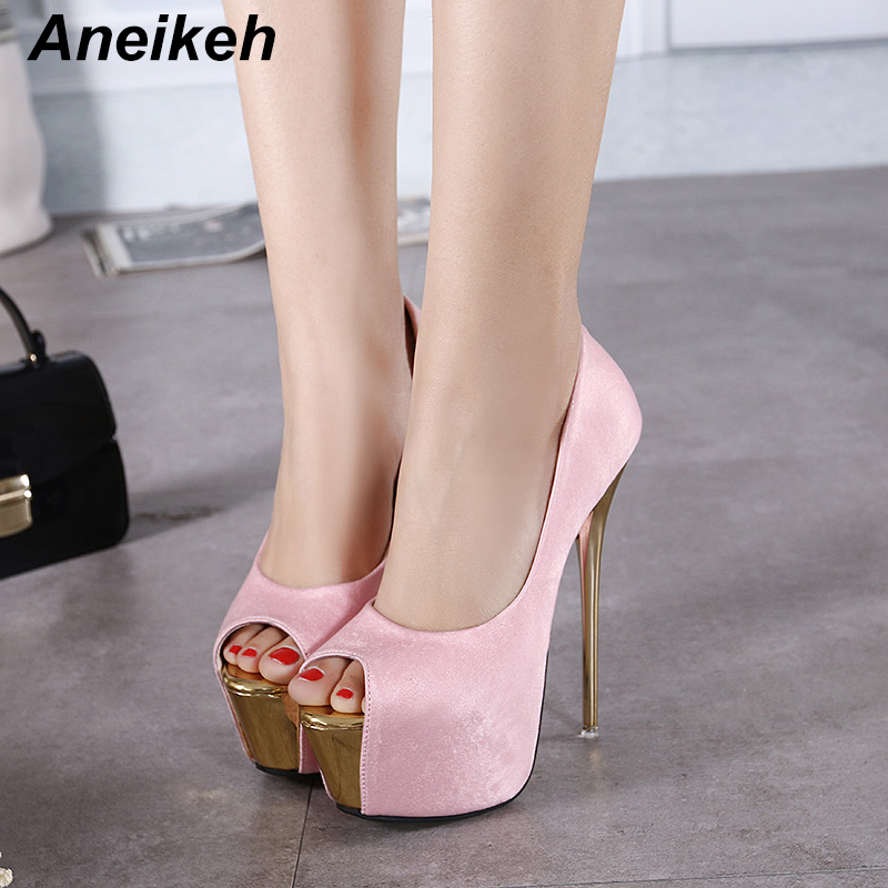 Aneikeh 2019 Brand Shoes Woman 16CM High Heels Women Pumps Stiletto Thin Heel Women's Shoes Open Toe High Heels Shoes 258-21#
