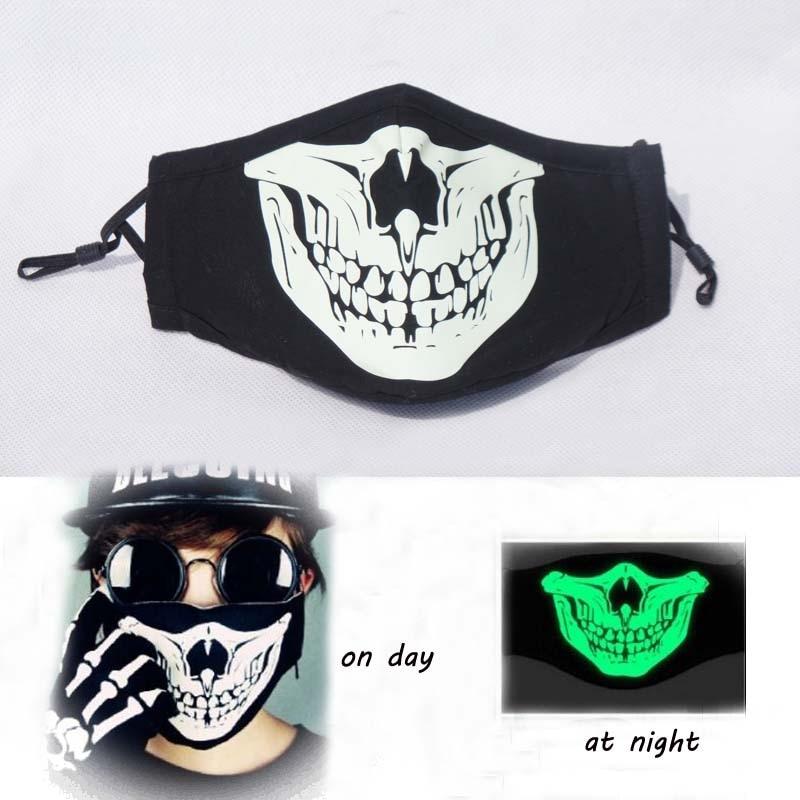 Fashionable Cotton Black Anti Dust <font><b>Masks</b></font> <font><b>Led</b></font> Skull Respirator <font><b>Face</b></font> Mouth <font><b>Mask</b></font> with Grimace Pattern for Party Halloween