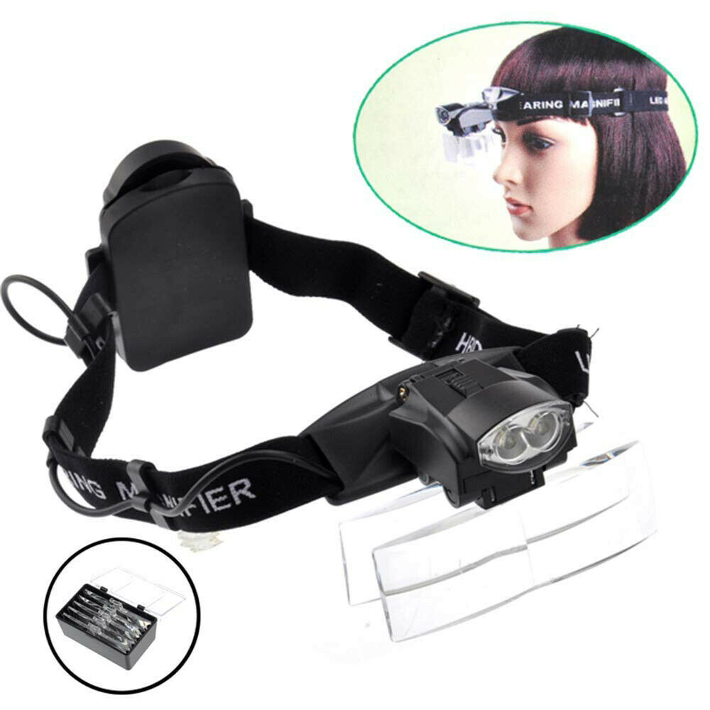 Head Visor Magnifying Glass LED Portable Headband Eyelash Magnifying Glass Surgical Dental Magnifier Loupe 1X~6X