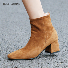 Women Boots Shoes 2018 Autumn Winter New Martin Boots High Heels Round Toe Ankle Boots for Women Female Shoes Brown/ black shoes women boots 2015 autumn and winter high heels round toe shoes woman soft leather england styel martin boots plus size 34 43y88