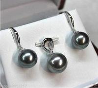 Conjuntos de jóias Preto shell pingente de pérola Redonda brinco de prata esterlina Sólida