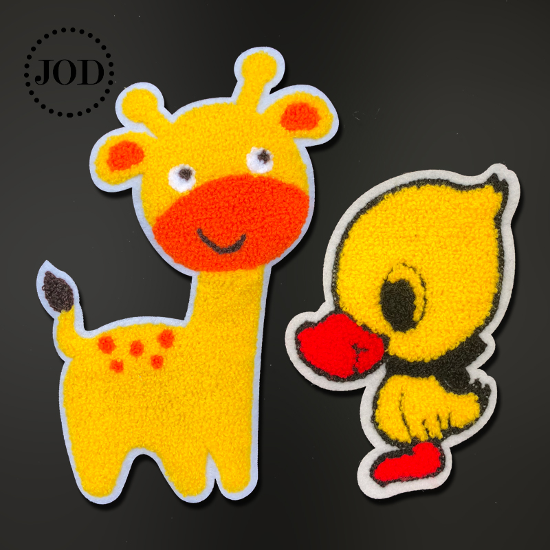 JOD@ Yellow Wool Duck Giraffe Sewing Patches for Clothing DIY Embroidered Clothes Patch Applique Stickers Cartoon Children Jeans