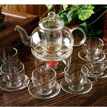 Высокая Класс 14 шт./компл. высокое Температура устойчивый Стекло чайный сервиз 1 шт. 600 мл чайник 1 шт. нагреватель 6 шт. чашки 6 шт. блюдца JO 1051