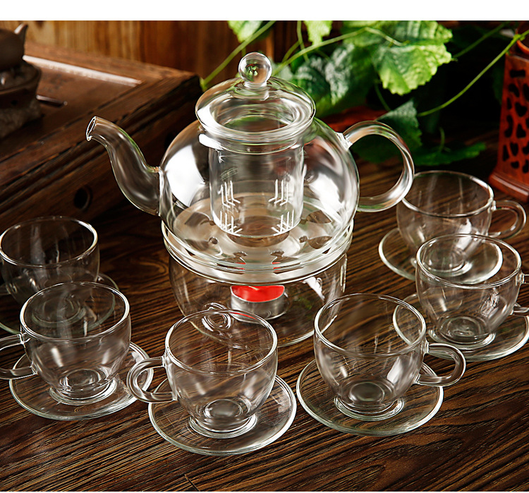 High Grade 14pcs/set High Temperature Resistant Glass Teapot Set 1pc 800ml Teapot 1pc Warmer 6pc Cups 6pc Saucers JO 1051