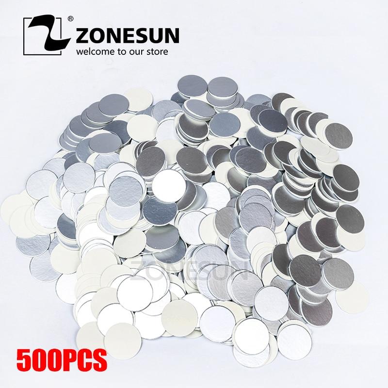 ZONESUN Induction Sealing Customized Size Plactic Laminated Aluminum Foil Lid Liners 500pcs For PP PET PVC PS ABS Glass Bottles