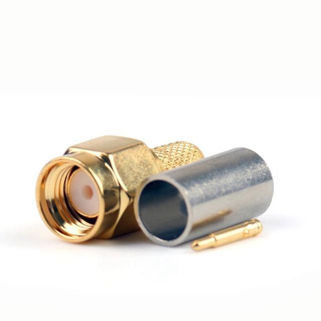 Areyourshop SMA Male Plug Crimp RG58 RG142 LMR195 RG400 Cable Straight 10Pcs Connector 50ohm Gold Plating Plug Jack