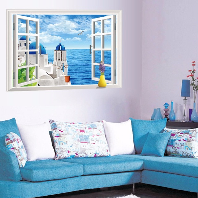 3d window view sea view wall sticker romantic aegean sea scenery wall decals blue castle landscape - Blue Castle Decor