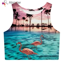 2122ceeae45f24 2019 New Flamingo 3d Print Tank Tops Women Summer Brief Sleeveless O Neck  Slim Vest Tops