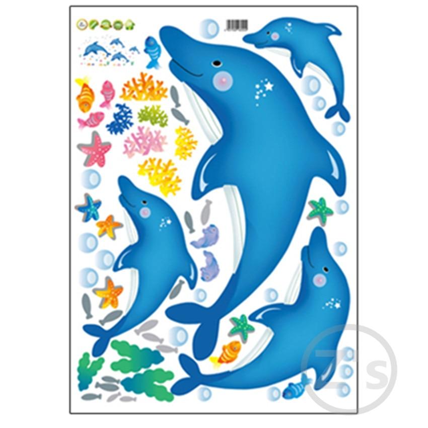 Zs Etiket delfin balıq dəniz divarı etiket vanna otağı bəzək - Ev dekoru - Fotoqrafiya 5