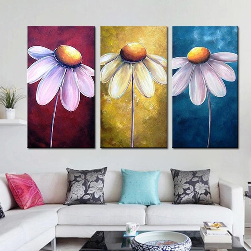 っmodern Soyut Yagliboya Cicek 3 Paneller Duvar Sanati Resim 100
