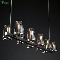 Living Room RH American Led Pendant light Lustre Edison Bulb E14 Pendant Lamp Clear Wine Glass Shades Pendant Lighting Fixtures