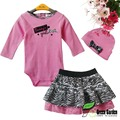 2015 New Baby girls Spring/Autumn 3pcs sets:long sleeved rompers + zebra tutu skirt +headband(hat) Girls Pink clothing sets3-24M