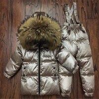 Winter Down Suit Super Warm Children Winter Russian Suits Boys Girl Duck Down Jacket+overalls 2 Pcs Clothing Set Kids Snow Wear