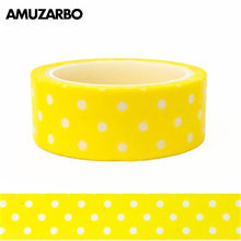 1 pcs Leuke Tapes Geel en Witte Stippen Cirkels Washi Tape Print Scrapbooking DIY Craft Sticky Deco Masking Papier 1.5 cm * 5 m(China)