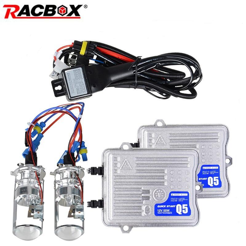 55W H4 1 5 Inch Mini Projector Len HID Headlight Bulb Bi xenon For Retrofit Kit