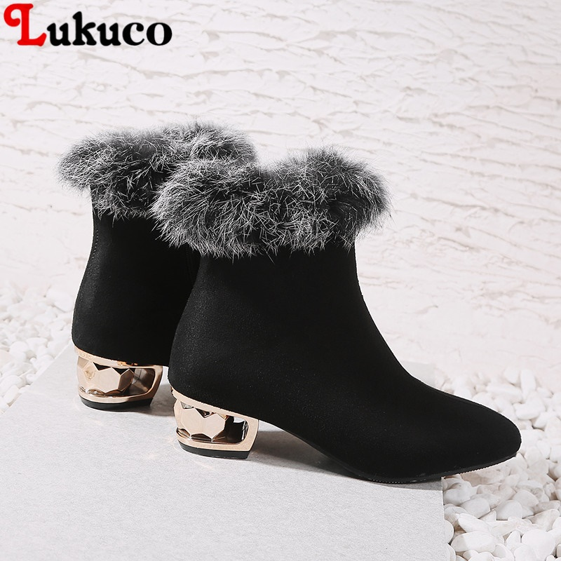 2018 New Arrival Winter Warm Botas Fur Ankle Boots Sexy Pumps Big Size 43 44 45 46 47 48 High Quality Free Shipping Shoes Women plus size 43 44 45 46 47 48 new high quality pu pointed toe elegant women shoes sequined design spike heel pumps free shipping