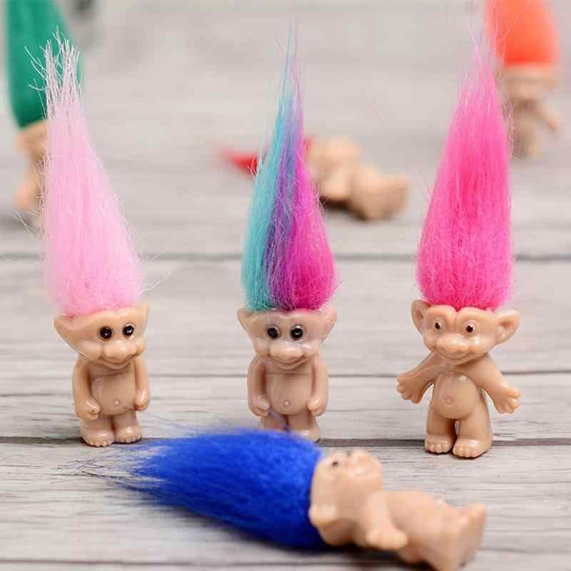 5 قطعة/المجموعة الجنية شخصية خمر ترول دمية الشكل لعب البلاستيك السحر طويلة ألوان الشعر كبيرة الشيطان الدمى للطفل اللعب اللعب عشوائي