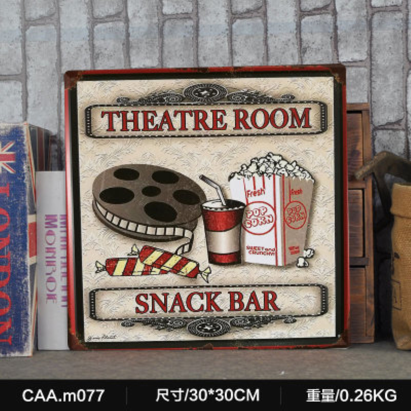 THEATRE ROOM SNACK BAR Large Vintage Metal Painting Poster Wall Sticker Tin Sign Retro Iron Art Bar Cafe Wall Decoration 30X30CM ...
