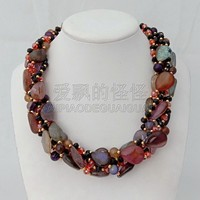 N011814 19'' 5 Strands Mixed Color Stone Crystal Necklace
