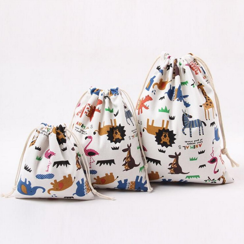 3PCs/Set Cute Animal Women Bags Drawstring Bags Casual Canvas Printing Travel Storage Bags School Bags For Girls Bolsa Feminina