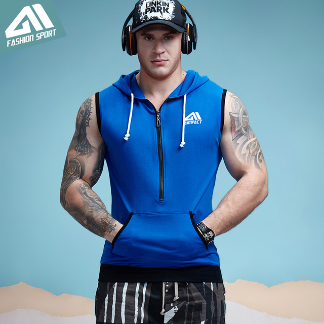 Aimpact GYM Workout Tank Top Sport Fitted Sleeveless Hoodies Mens Tapered Zip Athletic Hoody Activewear Crossfit Workout Tees 1