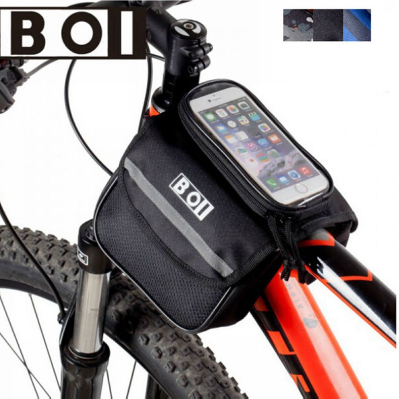 Black Bike Bag B01 Outdoor Cycling Phone Touch Screen Pouch Pannier Bicycle Front Tube Bag 3-Style M/L
