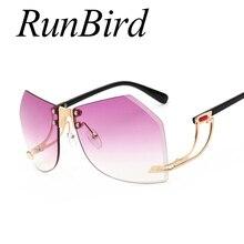 Runbird  Unique Oversized Sunglasses Women Rimlesss Brand Designer Elegant Lady Female Original Designer Gradient Glasses 765R