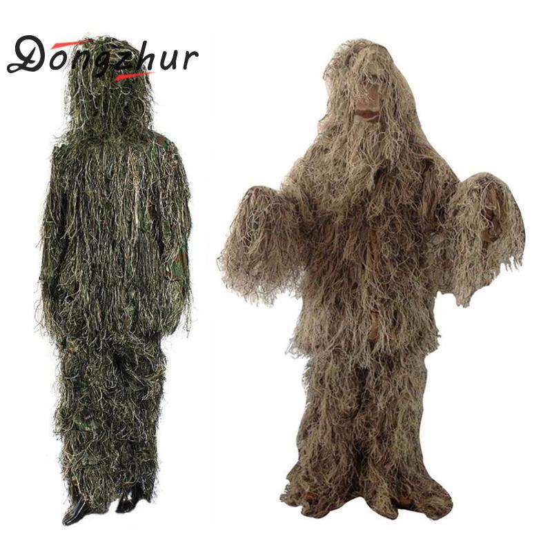 3D Universal Camouflage Costumes Woodland Vêtements Réglable Taille Ghillie convient à Chasse Armée Militaire Tactique Sniper Set Kits