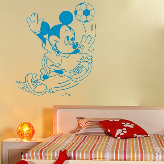 Creative cartoon sticker DIY bedroom cute Mickey Mouse football wall stickers for kids rooms home decoration wall stickers #T07