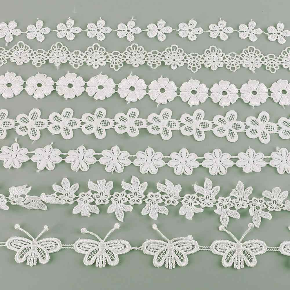 White Lace Fabric Leaf Polyester Ribbon Embroidered Wedding Decoration Craft Sewing DIY Clothing Curtain Accessories