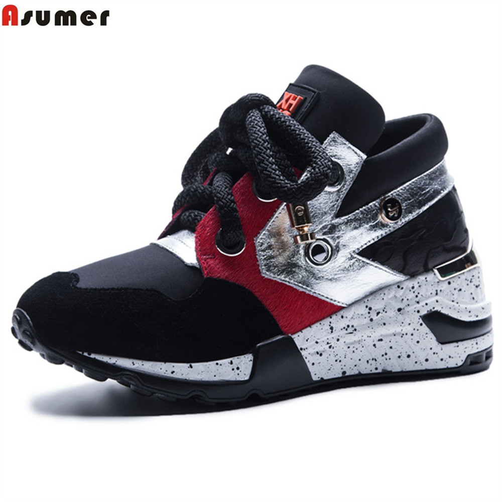 Asumer black fashion Four seasons ladies shoes lace up suede leather shoes woman casual sneakers shoes wedges size 35-42