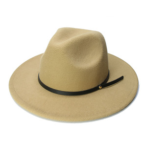 Image 3 - LUCKYLIANJI الرجعية طفل الطفل خمر 100% الصوف قبعة بحافة واسعة فيدورا بنما الجاز القبعة المستديرة حلقة من جلد أسود (54 سنتيمتر/تعديل)