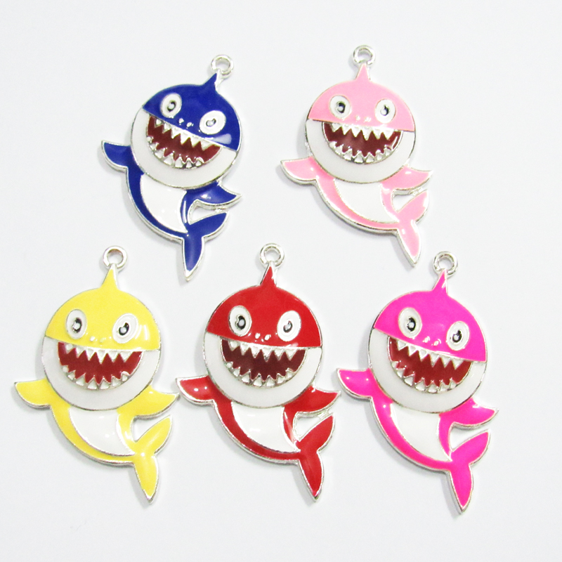 Wholesale Newest  45mm*33mm  10pcs/bag Zinc Alloy /Full Enamel Shark Pendants For Chunky Jewelry Jewelry