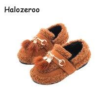 6a2c926b Halozeroo 2018 nuevo invierno bebé niña piel zapatos negros moda chico niños  cálidos planos marca niños