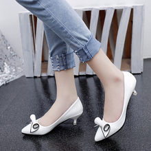 Spring and autumn new fashion women's singles white shoes comfortable high heels bow sexy high-heeled shoes, free shipping