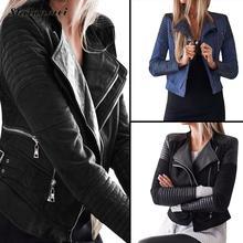 2019 Fashion Winter Autumn Motorcycle PU Leather Jackets Black Blue Solid Coat Women Slim Jacket Short