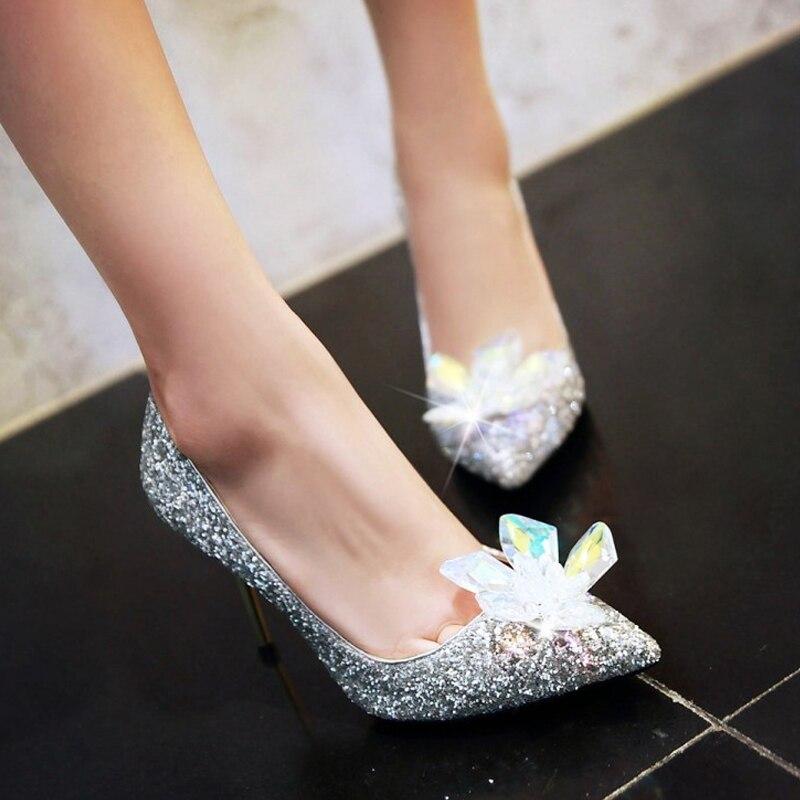 ФОТО 2017 Prom Heels Wedding Women High Heels Rhinestone Bling Pumps Crystal Flower Silver Sexy Ladies Shoes