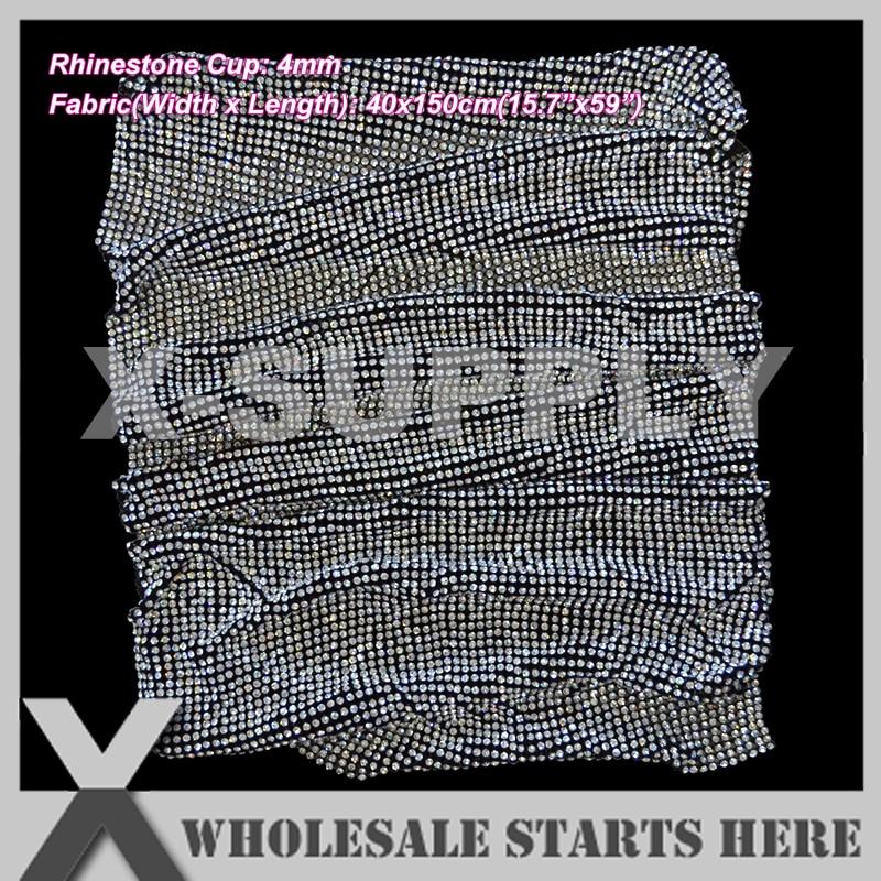 P1 4mm 40x150cm Rhinestone Fabric Mesh Without Iron On Glue BLACK Base Used For Clothes Wedding