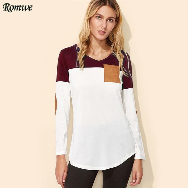ROMWE T shirts Women 2017 Autumn Color Block Elbow Patch Curved Hem T-shirt  Long