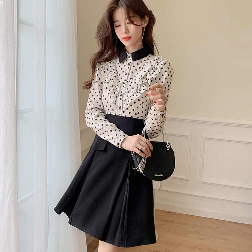 Элегантное офисное женское платье, осеннее платье с отложным воротником и длинными рукавами, декоративное платье с рюшами и принтом «любовь», платье-рубашка черного цвета для женщин