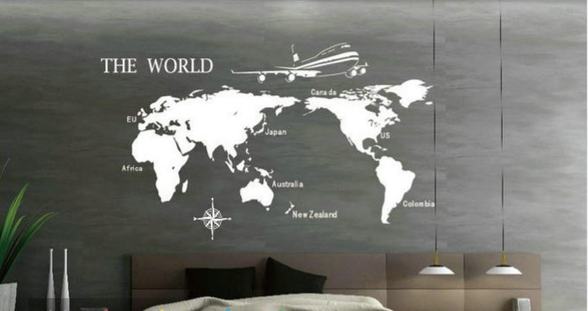 New 2014 white retro cheap wall sticker world map novelty for Cheap plain white wallpaper