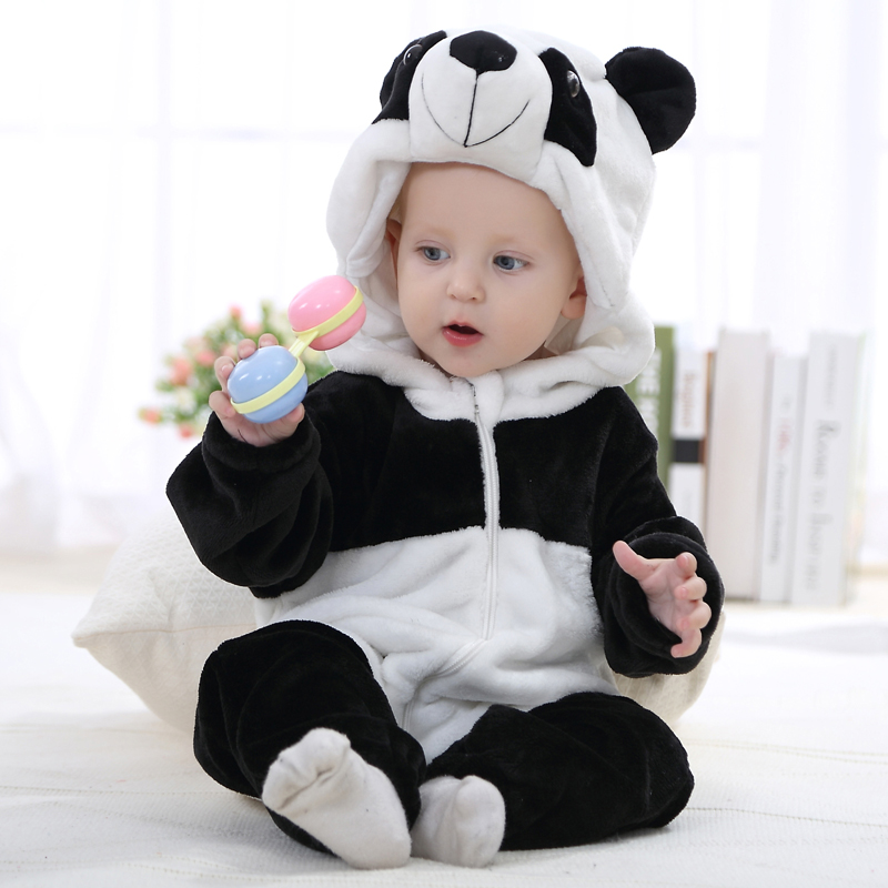 Lovely Panda Comfortable Baby Climb Clothes Romper Cotton Full And Hooded Handmade High Quality For 0-24 Years Old Wholesale