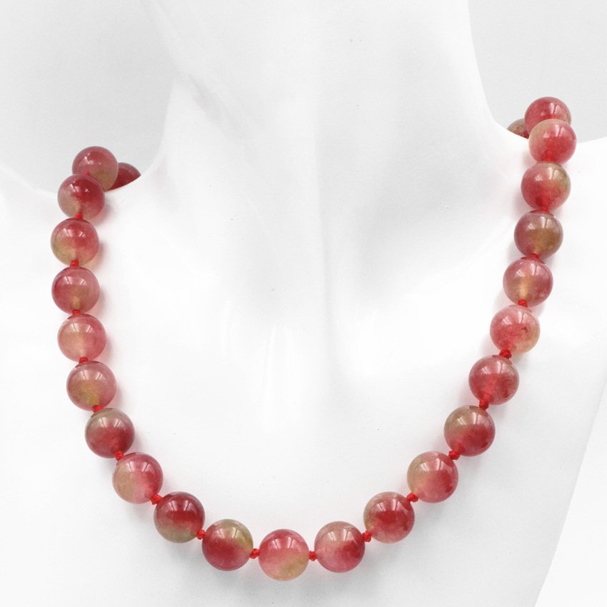 Multicolor <font><b>Tourmaline</b></font> Stone Round Beads Necklace for Women Chalcedony 8 10 12mm <font><b>Watermelon</b></font> Strand Chain Necklaces 18inch A610 image