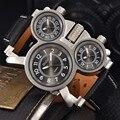 Mens Relojes de Primeras Marcas de Lujo de Cuarzo Militar Oulm-reloj 3 Pequeños Diales Correa de Cuero Hombre Reloj Hombre Relojes