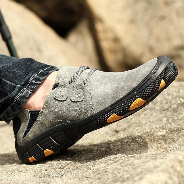 Nêm Sneakers Nam Size Lớn 45-48 Nông Giày Da Lộn Nam + Giày Bít Sabo Da Cổ Người Lưu Hóa Giày Đi Bộ Đường Dài đi bộ