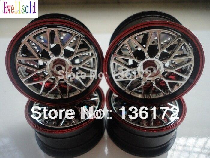 Ewellsold 1/10 RC car accessories rc car parts Rims/wheels hub for 1:10 RC racing car 4pcs/set  red free shipping racing wheels h 480 7 0 r16 4x114 3 et40 0 d67 1
