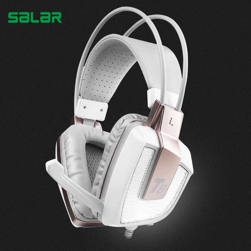 Salar T8 Professional Gaming Headphone Vibration Headset with Mic Stereo Bass Earphone LED Light for PC computer Laptop for Xbox